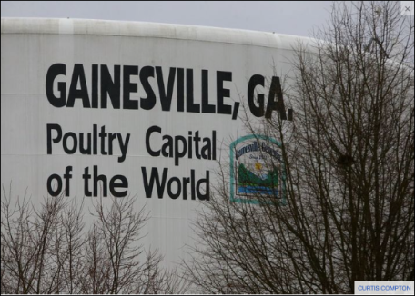 A water tank touts Gainesville as the poultry capital of the world. Nearby Lake Lanier provides drinking water to metro Atlanta. Two of the state's largest chicken processors are located along a creek that feeds into the lake. CURTIS COMPTON / CCOMPTON@AJC.COM